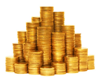 Image: stacks of gold coins